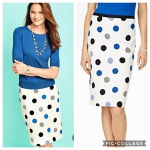 EUC Talbots Dotted Dots Jacquard pencil skirt